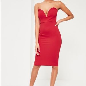 NWT Missguided Red Scuba Plunge Bandeau Midi Dress
